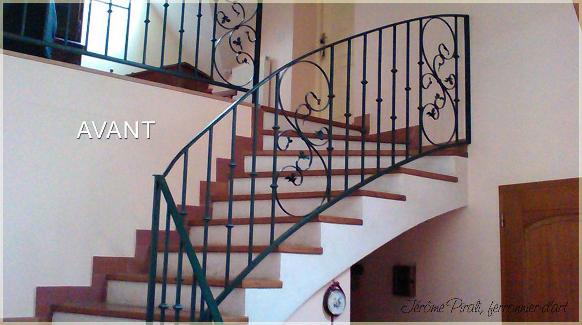 rampe d 39 escalier en fer forg classique mod le louis xvi. Black Bedroom Furniture Sets. Home Design Ideas
